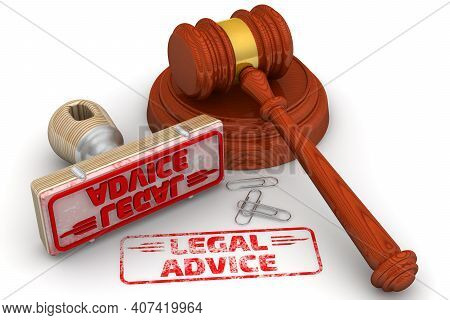 Legal Advice. The Stamp And An Imprint. Wooden Stamp And Red Imprint Legal Advice With Judge's Hamme