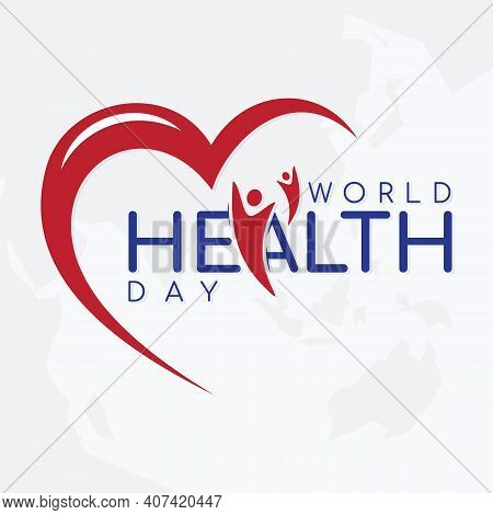 Vector Illustration Of World Health Day Concept Text Design On The World Map Background. Vector Illu