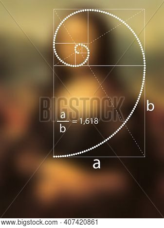 Golden Ratio In Dotted Line In Renaissance Painting. Fibonacci Sequence Geometric Spiral Made From Q