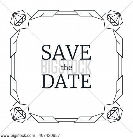 Vector Illustration Wedding Invitation, Retro Line Geometric Frame. Black Art Deco Geometry Pattern