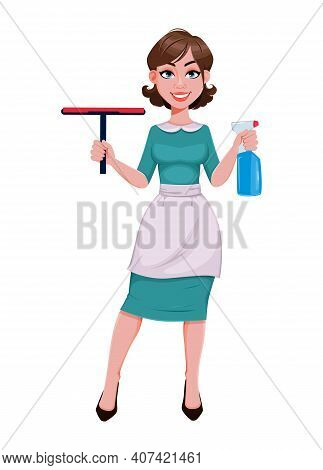 Young Cheerful Housekeeper, Mother, Beautiful Successful Woman. Cheerful Lady In Apron Holding Windo