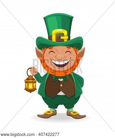 Stock Vector Leprechaun. Happy St Patrick's Day. Cheerful Leprechaun Cartoon Character Holding Lante