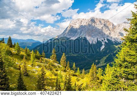 South Face Of The Highest Mountain In Germany, Zugspitze, Germany And Austria