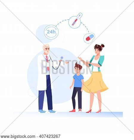 Vector Cartoon Flat Patients, Doctor Characters.physician Character Prescribes Medication Drugs To F
