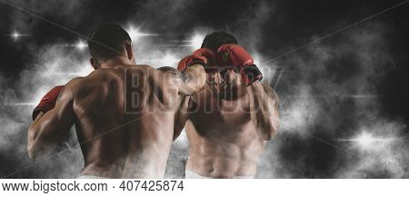 Box professional match on smoke background. Two image of the same model. Mixed media