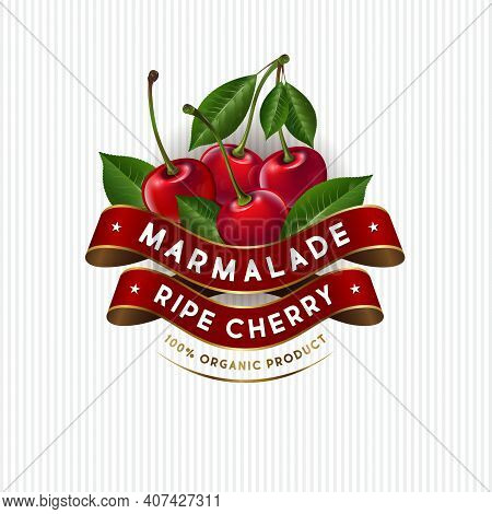 Package Design For Cherry Marmalade. Label With Ripe Cherries, Leaves And Silk Ribbons. Premium Prod