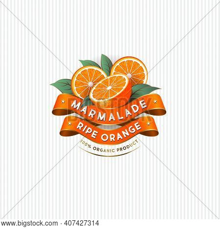 Package Design For Orange Marmalade. Label With Ripe Oranges, Leaves And Silk Ribbons. Premium Produ