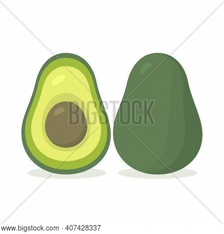 Avocado Realistic With Slice Isolated Fruit Icon