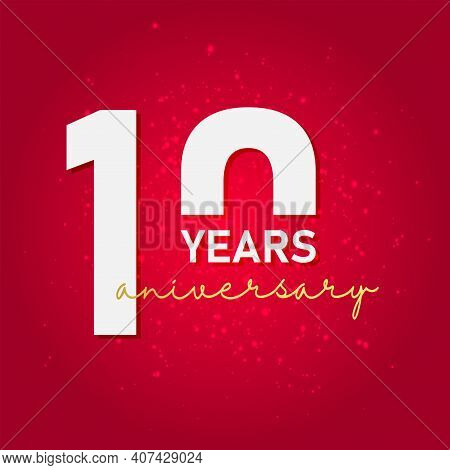 10 Years Anniversary Celebration With Golden Text, Vector Template. Eps 10