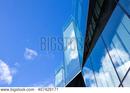 Beautiful Architecture Business Office Building With Window Glass Pattern In The Skyscraper City. Cl