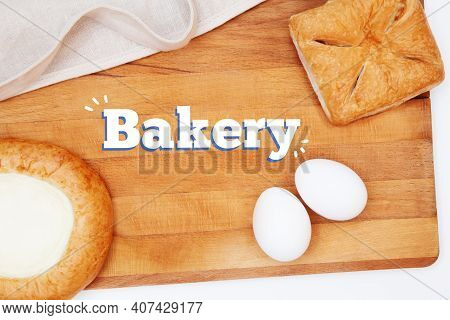 Flat Lay Baking Or Cooking. Kitchen Utensils, Ingredients For Baking Cakes And Pies, Flour, Eggs, Ro