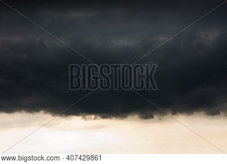 Dark Ominous Grey Storm Clouds. Dramatic Sky.