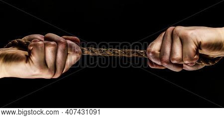 Rope, Cord. Hand Holding A Rope, Climbing Rope, Strength And Determination. Rescue, Help, Helping Ge