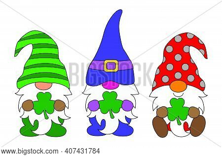 Three Gnome Saint Patrick Lucky, Irish, Shamrock In Green Suit And Hat With Clover Leave, Stand On T