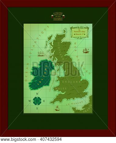 Comic Map Of Great Britain And Ireland Dedicated To St. Patricks Day.