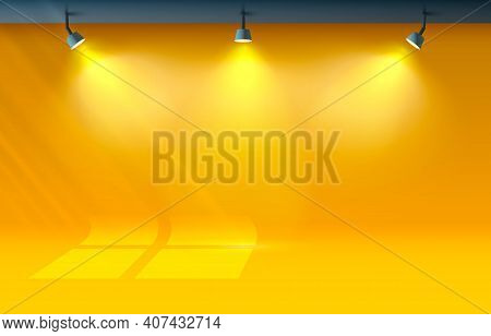 Room Light Studio, Presentation Scene Illuminated, Orange Background. Vector
