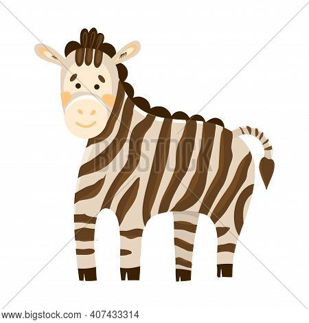 Cute Funny Cartoon Zebra Character On White Isolated Background. Vector Clip-art Zebra In Flat Style