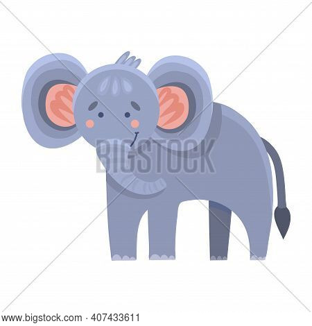 Cute Funny Cartoon Character Elephant On White Isolated Background. Vector Clip-art Elephant In Flat