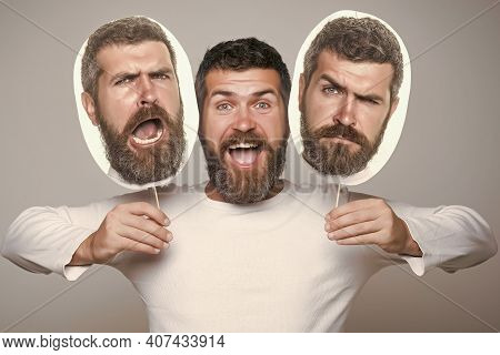 Hipster With Sad And Happy Face Hold Portrait Nameplate. Man Expressing Different Emotions. Feeling