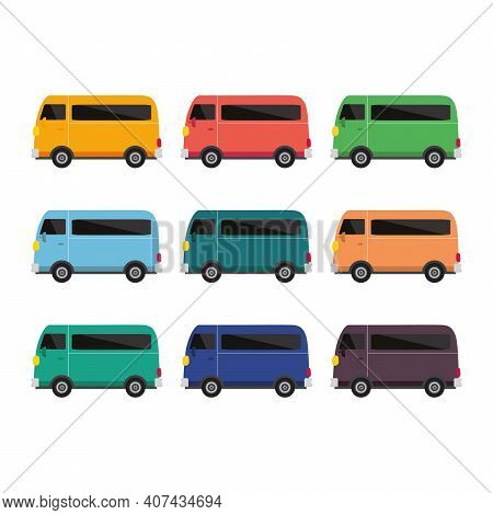 School Bus Vector, Bus Different Color Set Of Nine Bus Vector Illustration On White Background