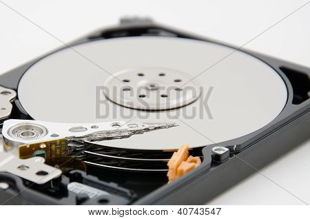 Close Up Of Hard Disk Plate And Reader Head