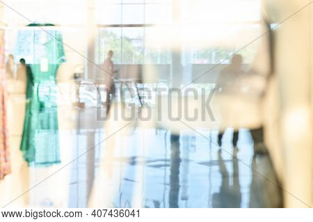 Empty Blurry Mall Background. Defocused Wallpaper. Business Office Interior. Light Lifestyle Superma