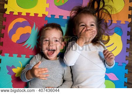 Childhood, Family Friendship, Games - Close Up Portrait Two Funny Joy Happy Smiling Little Toddler P