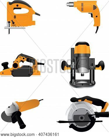 Electric Planer Repair Tool Color Vector Illustration Isolated