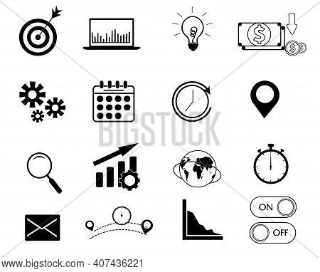 Set Of Vector Business Icons. Company Office Work Symbols. Investment Financial Growth. Purpose, Ide