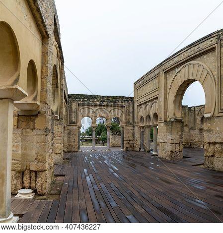 Cordoba, Spain - 31 January, 2021:view Of The Upper Basilical Hall In The Ruins Of Medina Azahara
