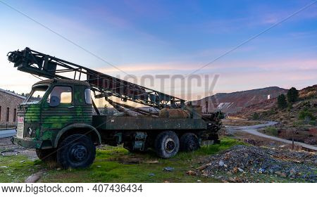 Minas De Rio Tinto, Spain - 28 January, 2021: Old Abandoned Mining Truck In The Rio Tinto River Mini