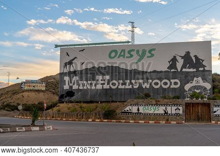 Tabernas, Spain - 6 February, 2021: Mural And Billboard For The Oasys Minihollywood Western Theme Pa