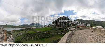 Zahara De La Sierra, Spain - 1 Februarv, 2021: Panorama View Of The Whitwashed Andalusian Village Of