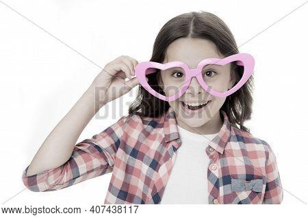 Sweet Childhood. Kid Happy Lovely Feels Sympathy. Child Charming Smile Isolated White Background. Gi
