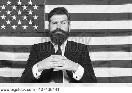Man American Presenter Anchorman In Studio, Great Future Concept.