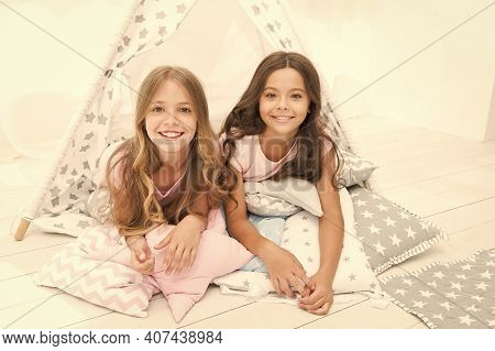 You Are Beautiful Like Me. Happy Kids Relax On Cushions. Beauty Look Of Small Girls. Beauty And Hair