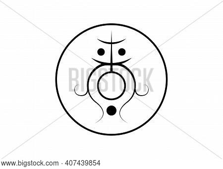 Sigil For Clearing The Root And Sacral Chakra. Sacred Geometry. A Black Stylized Image Of A Magic Sy