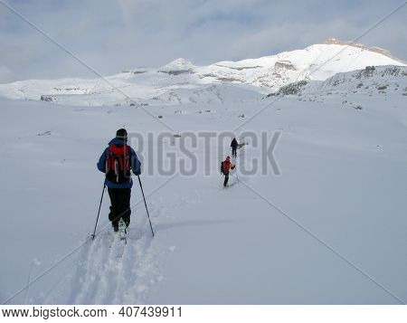 Ski Tour In Winter In The Alps