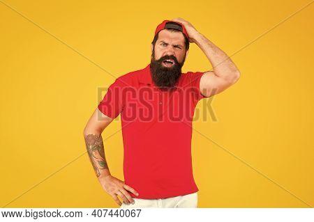 Brutal And Hirsute. Brutal Hipster With Unshaven Face. Bearded Man With Brutal Look. Barbershop. Bar