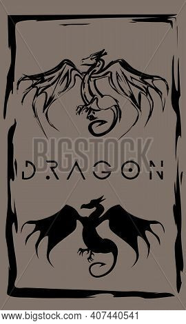 Drawing Of Fantasy Winged Dragon In Primitive Ancient Style, Year Of Dragon
