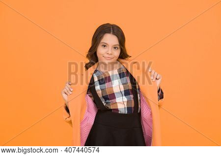 Warm And Practical Outerwear. Autumn Look Of Small Fashion Model. Little Child In Cozy Fashion Style