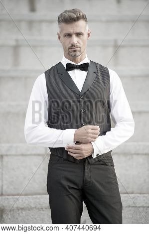 He Got Style. Gentleman Modern Style. Guy Well Groomed Handsome Bearded Gentleman Macho Wear Shirt A