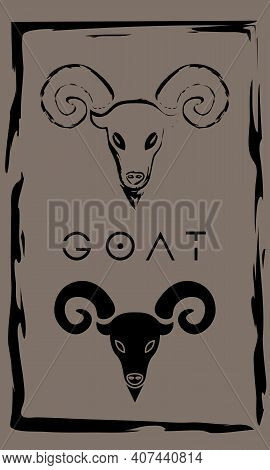 Drawing Of Horned Goat In Primitive Ancient Style, Year Of Goat