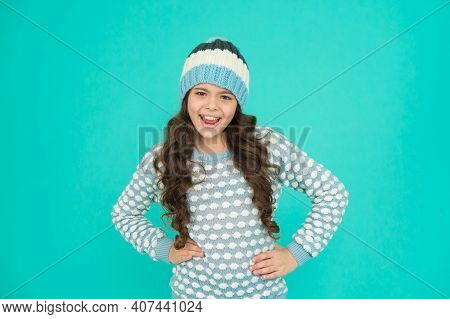 Christmas Vacation. Childhood Happiness. Keep Warm And Comfortable. Happy Teen Girl In Knitwear. Kid