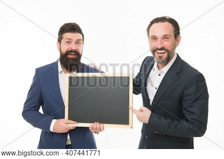 Official Presentation. Men Bearded Guys Wear Formal Suits. Well Groomed Business Man Hold Chalkboard