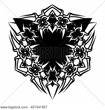 Dark Tattoo Or Print Design With Black Triangle And Celtic Tribal Tracery
