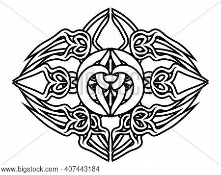 Isolated Abstract Symbol In Ancient Celtic Style, Tattoo Or Print