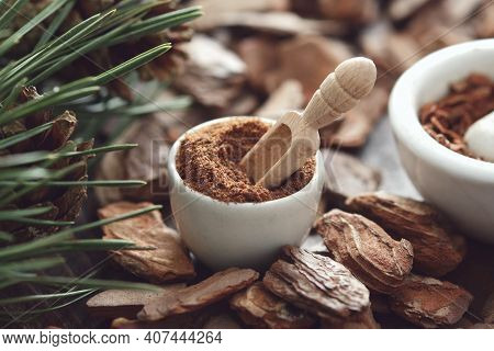 Mortar Of Powdered Pine Bark, Branches Of Pine Tree And Dry Pine Bark On Wooden Board.