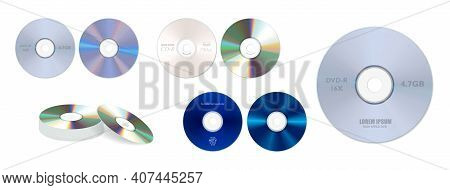 Set Of Realistic Dvd High Speed Or Cd Disc Isolated Or Stack Of Compact Disc Realistic Storage Disc