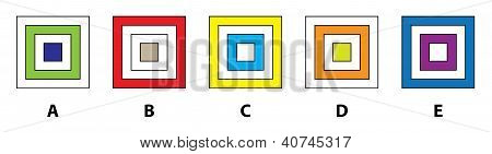 5 SQUARES MIND GAME: Which of the five squares does not fit in? Answer: B poster